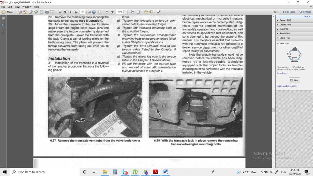 Thừa ống hơi sau khi tháo Ford Escape V6 3000 đời 2003 hộp số AT